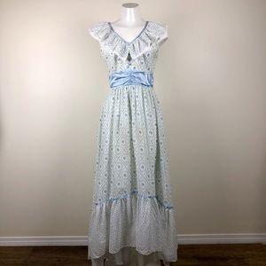 Vintage Floral Hi-Low Maxi Dress
